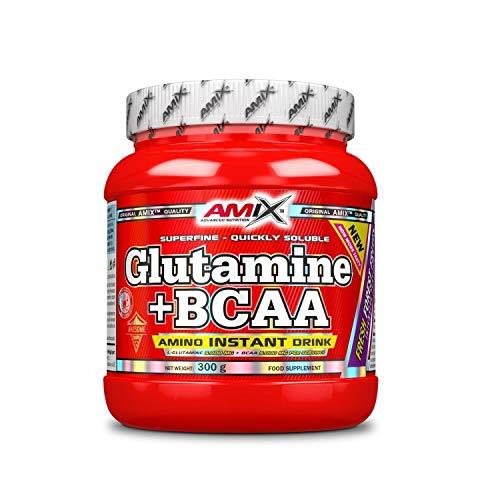 AMIX - Bcaa Glutamina - 300 Gramos - Complemento Alimenticio de Glutamina en Polvo - Reduce el Catabolismo Muscular - Ideal para Deportistas - Sabor Frutas del Bosque - Aminoácidos Ramificados