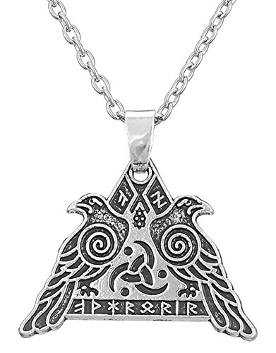 Triquetra Nordic Odin's Raven Warrior Huginn and Muninn Pendant Necklace Spiritual Jewelry for Men