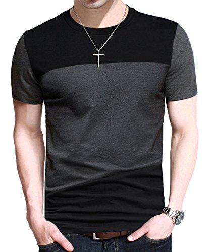 FRTCV Mens Short Sleeve T-Shirt Casual Tops Tee Classic Fit Basic Shirts D6043 Black Asian 4XL/US L