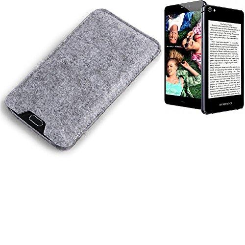 K-S-Trade® Filz Schutz Hülle Für Siswoo R9 Darkmoon Schutzhülle Filztasche Filz Tasche Case Sleeve Handyhülle Filzhülle Grau