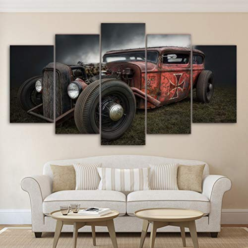 WFUBY Five paintings Canvas Prints Paintings Home Decor 5 Pieces Antique Hot Rod Vintage Car Poster Living Room Pictures Wall Art (No frame)-40x60x2 40x80x2 40x100cm