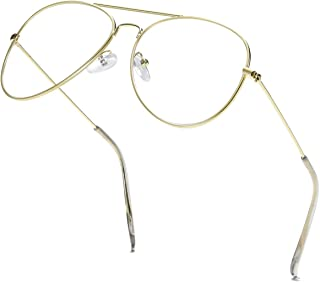 Clear Aviator Glasses Lens Premium Classic Metal Frame Eyeglasses