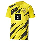 PUMA Unisex Bvb Home Trikot Replica 20/21 T shirt, Cyber Yellow-puma Black, 140 EU