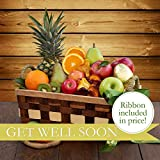 Get Well Fruit Basket - The Fruit Company- 13 pieces of premium fresh pears, apples, oranges, kiwi, and pineapple with a dried fruit medley in reusable basket wrapped in Get Well Ribbon