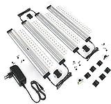 EShine 4 Panels 30 cm LED Dimmbares Unterbauleuchten-Set, Aktivierbar per Handbewegung - Berührungslose Dimm-Kontrolle, Warmweiß (3000K)