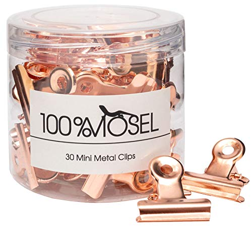 100% Mosel Mini Metallklammern, 30 Stück, in Roségold, edle Bulldog Clips aus Metall, elegante Papierklammern, Organizer für Akten, Büro & Küche, hübsche Verpackung für Geschenke