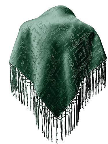 Seidentuch Dirndl-Trachtentuch Tuch 75 x 75cm Dirndltuch 100% Seide Fransentuch für Tracht Trachtenseidentuch mit Fransen Schultertuch Halstuch silk clouth beste Qualität, Farbe:dunkelgrün