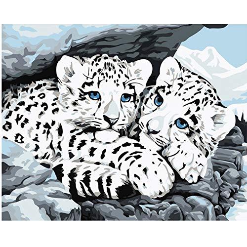 Vanzelu Frameloze afbeelding op de muur acrylschilderij door cijfers die door een uniek geschenk van de cijfers kleuren door cijfers Mijn Leopard kenmerken 40x50cm