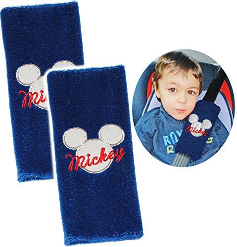 alles-meine.de GmbH 2 TLG. Set _ Gurtschoner / Gurtpolster -  Disney Mickey Mouse  - Gurtschutz - für Sicherheitsgurt als Gurt Polster - für Auto / Kindersitz - Schoner Autosit..