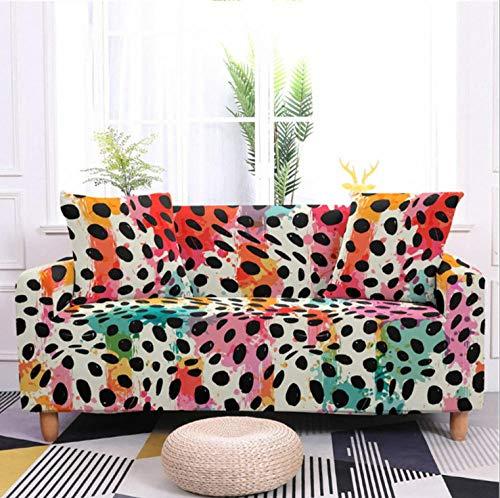 Protector de sofá con Estampado de Leopardo Color Graffiti Estampado,Fundas de Sofá Elasticas de 2 Plazas,Poliéster Suave con Funda elástica,Antideslizante Protector Cubierta de Muebles