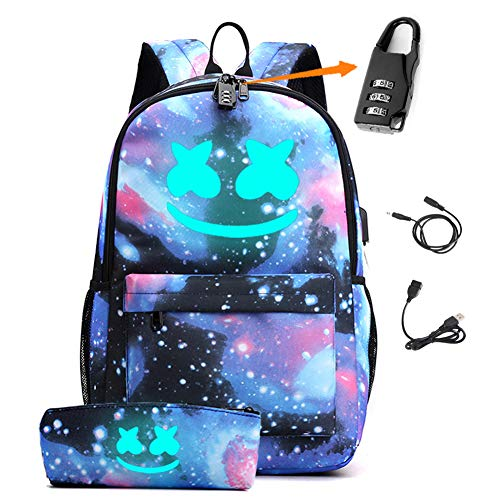 Smile Luminous Backpack with USB Charging Port & Anti-theft Lock &...