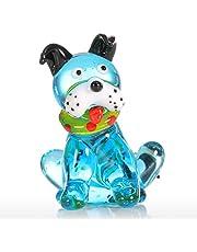 هدية الكلب القرفصاء الأزرق من مينستياي حلية زجاجية حيوان تمثال مهب يدوياً ديكور المنزل متعدد الألوان