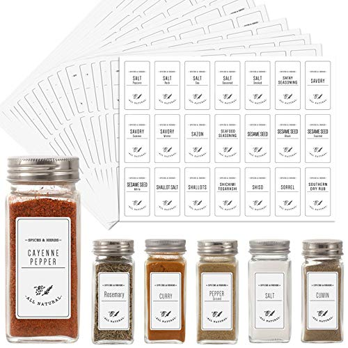 Aozita White 399 Printed Spice Jar Labels Stickers, Extra Write-on Labels for DIY, Farmhouse Waterproof Spice Labels for Spice Containers, Glass, Mason Jars (Don't Include Jars)