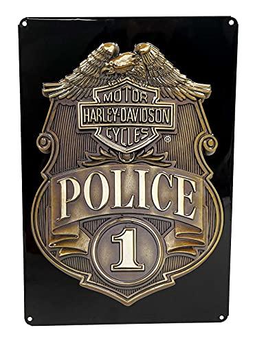 Harley-Davidson Police Shield Tin Metal Sign 17 x 12 Inches 2010161