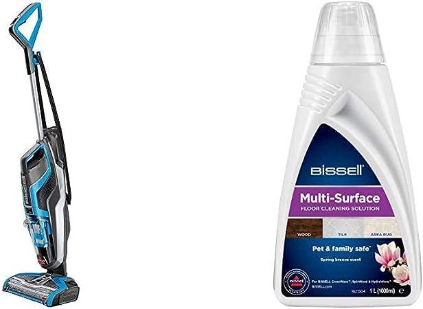 Bissell Crosswave Aspiradora Escoba, 510 W, 0.82 litros, 80 Decibelios, plástico, Azul/Negro + 1789L Solución Multi-Superficie para Crosswave y Spinwave, 1 Liter, Blanco: Amazon.es: Hogar