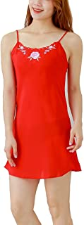 IngerT Women's Sexy Nighty Chiffon Nightwear Lingerie Round Neck Short Sleepwear Embroidered Nightdress Nighties - Red
