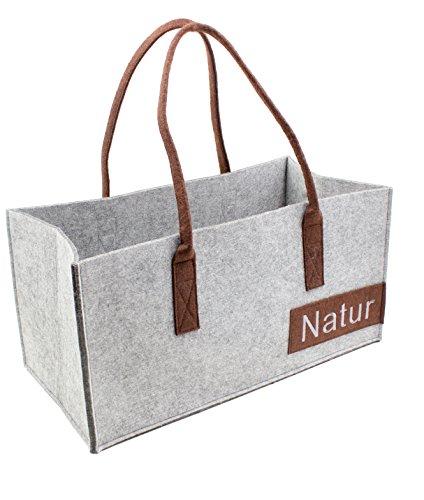 Luxflair XXL Filz Tragetasche in unterschiedlichen Farben, Bestickte Damen Shoppingtasche, besonders groß: 50 x 25 cm, ALS Handtasche oder Einkaufstasche, 50x25x50cm, Graumeliert/Braun