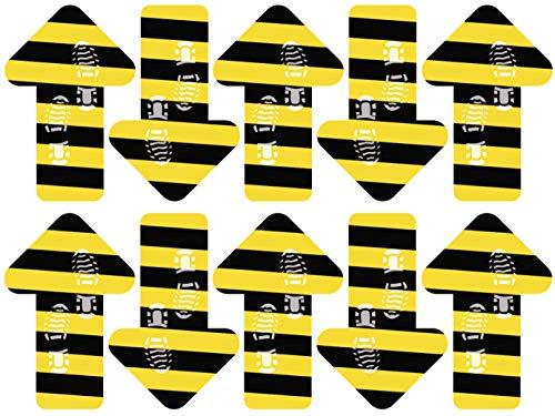 Oedim Pack 10 Vinilo Señalización para Suelo Flechas Amarillas y Negras | Vinilos Autoadhesivos para Decorar o Renovar Suelos