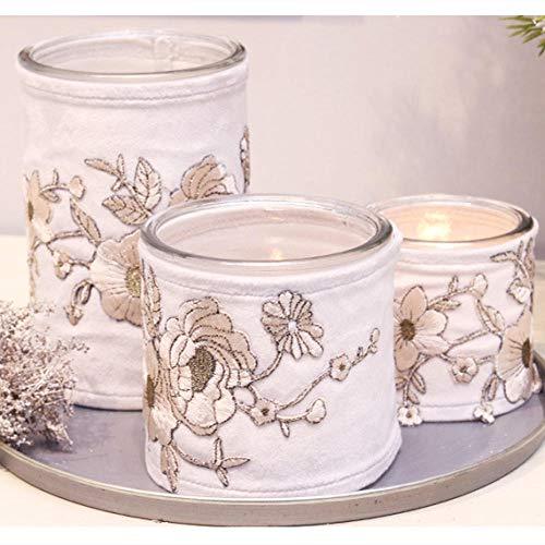 YAHABAB Gestickter Kerzenhalter im chinesischen Stil, geeignet für Wohnzimmer, Esszimmer, Schlafzimmer, Arbeitszimmer, Café, Hotel usw.