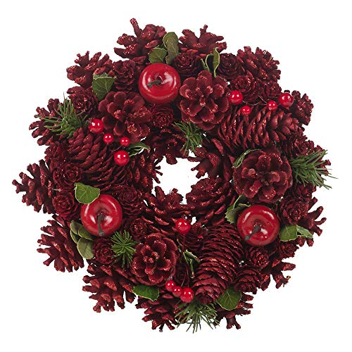 URBNLIVING - Ghirlanda natalizia artificiale, in resina, con foglie di pigna, per interni ed esterni, 24 – 34 cm, vari colori (rosso, 26 cm)