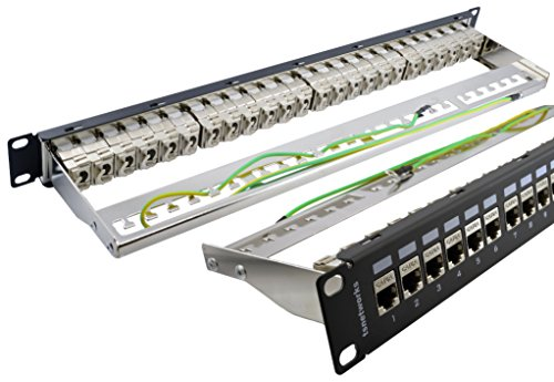tsnetworks Patchpanel/Patchfeld Verteilerfeld 24 Port inkl. Keystone Jack CAT 6a 10 GBit/s 500MHz – Desktop 1HE 19 Zoll Rackeinbau Servermontage – schwarz