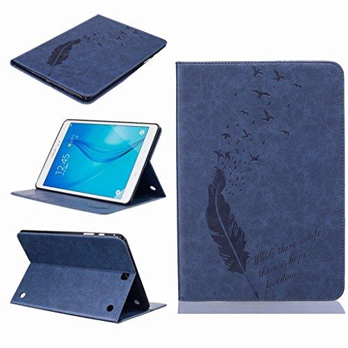Yiizy Hoesje voor Samsung Galaxy Tab A 9.7 T550 T555 Hoes, Veren Zwaluwen Premium Lederen Slim Fit Staande Beschermende ID & Credit Card Slots Magnetische Portemonneehouder Flip Cover Case (Deep Blue)