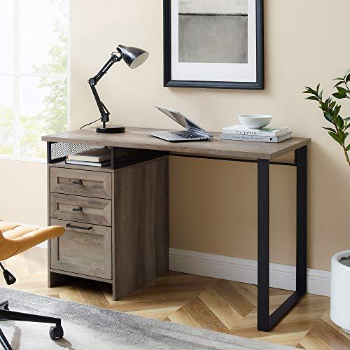 Walker Edison Escritorio moderno de metal y madera con 3 cajones, para casa, oficina, estación de trabajo, pequeño, 111,7 cm, gris lavado