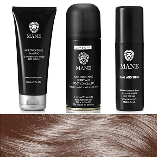 Mane Spray Épaississant (Dark Brown ), Mane Shampooing Épaississant et Mane Spray Fixant (lot de voyage 100 ml)