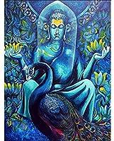 刻印されたクロスステッチキット初心者大人-宗教的な孔雀の仏-11CTDIYクロスステッチ-刺繡針仕事針先-家の装飾のためのギフト綿糸-16x20インチの印刷済みキャンバスAabcp