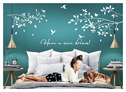Grandora Wandtattoo Spruch Have a Nice Dream! + Äste Vögel I weiß XL-Set I Schlafzimmer Kinderzimmer Sticker Aufkleber Wandaufkleber Wandsticker W775