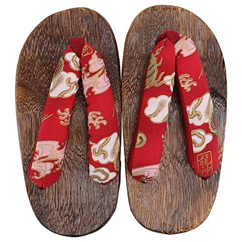 Holibanna 1 Paire Rouge Enfants Japonais en Bois Traditionnel Kimono Geta Sandales Sabots Pantoufles Sandale Japonais Kimono Chaussures