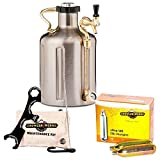 GrowlerWerks uKeg Carbonated Growler 128 oz Stainless Steel - 10 CO2 Chargers - Maintenance and Cleaning Kit