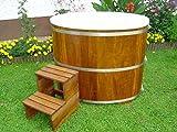 Achleitner Sauna Tauchbecken aus Kambalaholz mit Kunststoffeinsatz und Kunststoffdeckel