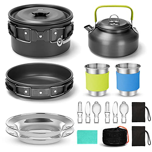 Odoland 15pcs Camping Cookware Mess Kit, Non-Stick Lightweight Pot Pan Kettle Set with Stainless Steel Cups Plates Forks Knives Spoons for Camping, Backpacking, Outdoor Cooking and Picnic