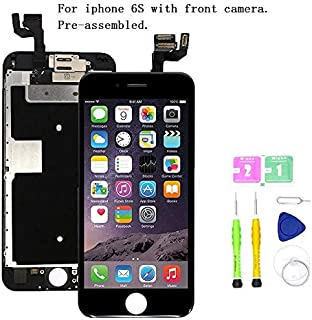 Screen Replacement Compatible with iPhone 6S Full Assembly - LCD 3D Touch Display Digitizer with Ear Speaker, Sensors and Front Camera, Fit Compatible with All iPhone 6S (Black)