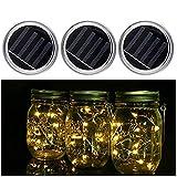 3 Pack-Mason Jar solar Lights, lampade a sospensione da 10 LED luci pendenti per giardino, Natale di nozze,patio, party esterni (vasi non inclusi)