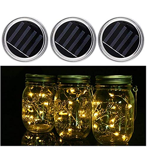 3 Pack-Mason jar Solar lichten, 20 LED String Lights deksel insert voor bruiloft Kerstmis vakantie Party decoratieve licht, hängelampen voor tuin, patio, Outdoor Party (glazen niet inbegrepen).