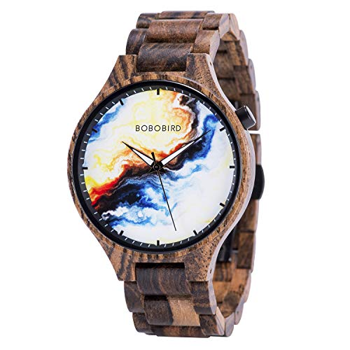 BOBO BIRD Mens Wooden Marbling Dial Wristwatches Adjustable Wood Band Fashion Casual Watch with Luminous Hands for Father's Day (Sunset)
