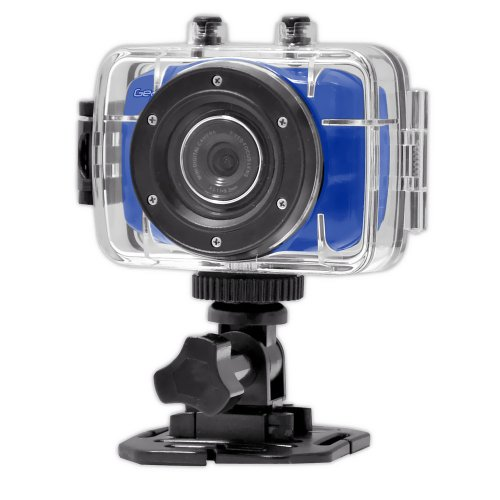 Gear Pro High-Definition Sport Action Camera, 1080p 720p Wide-Angle Camcorder with 2.0 Touch Screen - SD Card Slot, USB Plug and Mic - All Mounting Gear Included(Blue)