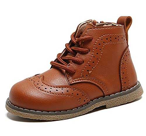 DADAWEN Baby's Boy's Girl's Classic Ankle Boots Lace Up Side Zipper Waterproof Combat Boots Brown US Size 9.5 M Toddler