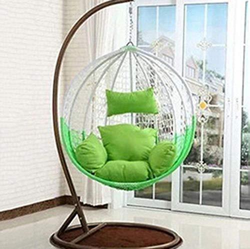 QPALB Sillas Colgantes Mimbre 196 * 106cm con Cojín de Color para Interior y Exterior Sillon Colgante Jardin 150kg-Re