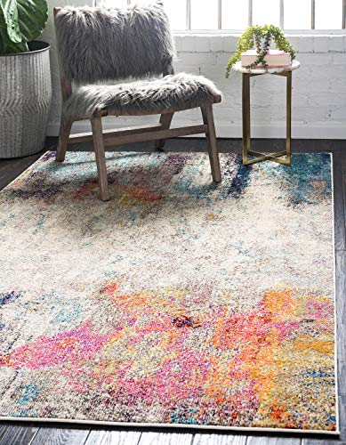 Unique Loom Chromatic Collection Modern Abstract Colorful Beige Area Rug (8' 0 x 10' 0)