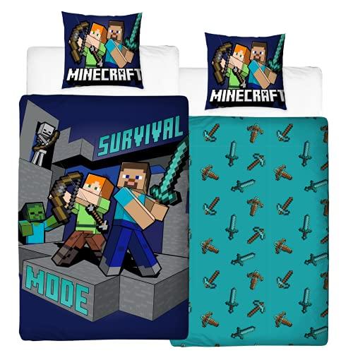 Character World Juego de cama reversible Minecraft con figuras · 100% algodón · 80 x 80 + 135 x...