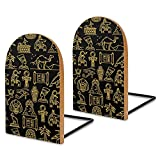 Nefertiti and Ra, Anubis and Pyramids, Mummy Sphinx Wooden Book Ends Book Holder Organizer for School Library Office Home Study Decoration