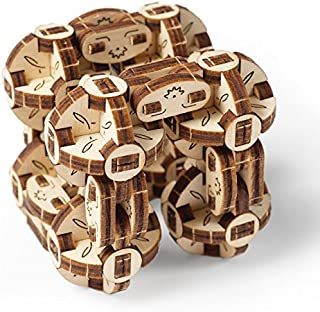 UGEARS Flexi-Cubus Brainteaser, 3d Mechanical Model, Wooden Puzzle - Ideal Gift for Adults and Teens