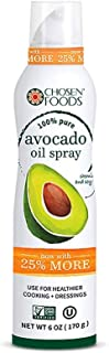 Chosen Foods 100% Pure Avocado Oil Spray 6 oz., Non-GMO, 500° F Smoke Point, Propellant-Free, Air Pressure Only for High-Heat Cooking, Baking and Frying