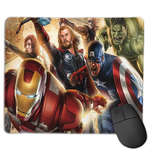 Bouderieng Custom Gaming Mouse Pad Captain Thor Greenhugeman Steel Man Non-Slip Rubber Round Mouse Mat Size 30 X 25 cm