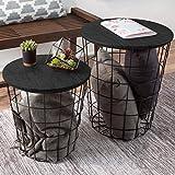 Lavish Home Nesting End Tables with Storage (Black) gigognes avec Rangement (Noir), Métal