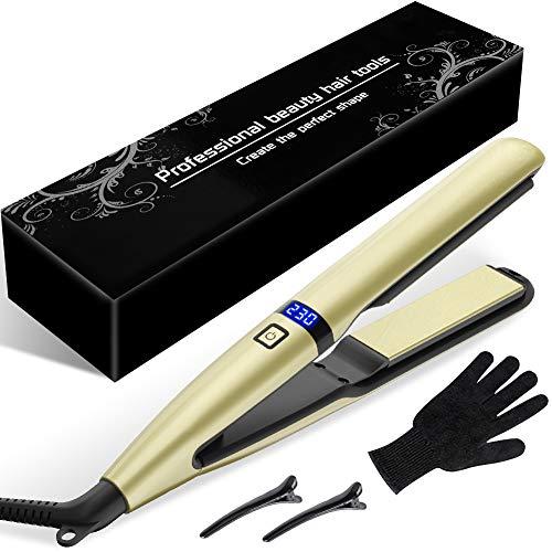 Planchas del Pelo Profesional, Tecnología Cerámica Turmalina, Temperatura Ajustable 160°C-230°C, Plancha de Pelo para el Peinado Alisado/Rizos