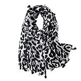 VALICLUD - Bufanda de moda para mujer con estampado de leopardo gris Talla única